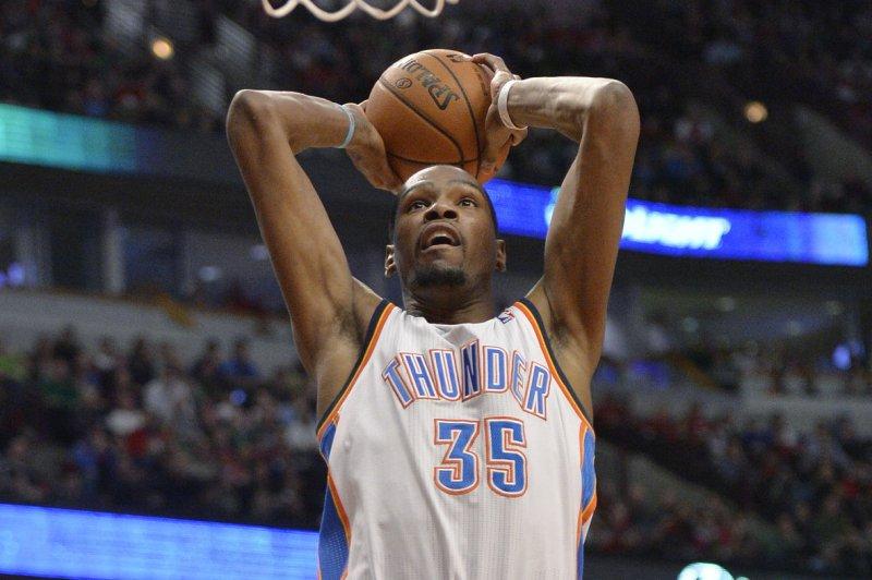 Oklahoma City Thunder forward Kevin Durant. UPI/Brian Kersey