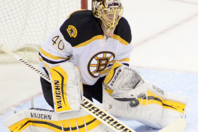 Boston Bruins goalie Tuukka Rask makes one of his 26 saves. File photo by Archie Carpenter/UPI