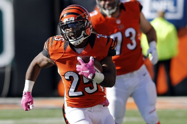 Cincinnati Bengals Giovani Bernard (25) runs the football against the Cleveland Browns during the second half of play at Paul Brown Stadium in Cincinnati, Ohio, October 23, 2016. File photo by John Sommers II /UPI