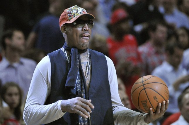 Dennis Rodman will be one of the celebrities to mock Bruce Willis at Comedy Central's roast Saturday. File Photo by Brian Kersey/UPI