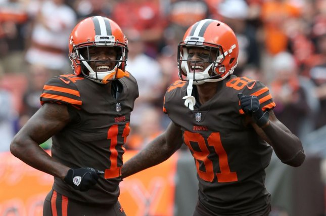 Cleveland Browns wide receiver Rashard Higgins (81) celebrates with Antonio Callaway after scoring a touchdown in the second quarter against the Baltimore Ravens on Sunday at First Energy Stadium in Cleveland. Photo by Aaron Josefczyk/UPI