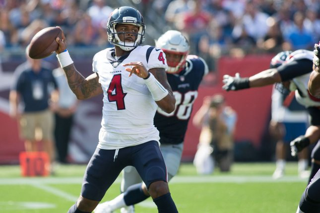 Deshaun Watson and the Houston Texans face the Cleveland Browns on Sunday. Photo by Matthew Healey/ UPI