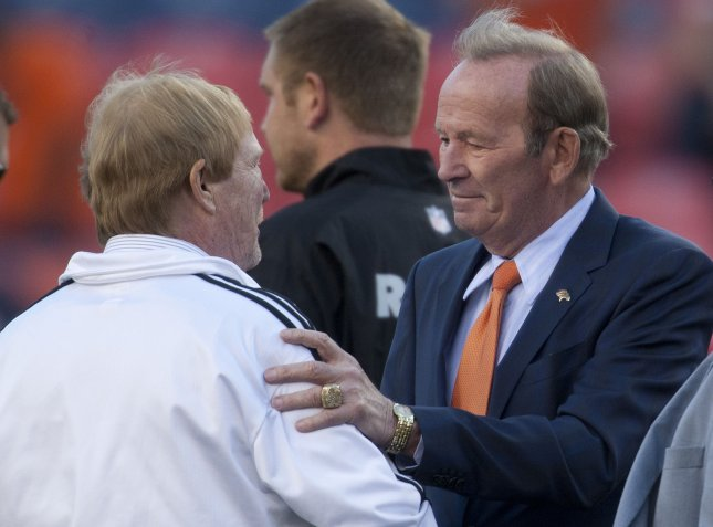Pat Bowlen (R) saw the Denver Broncos through seven Super Bowl appearances and three titles during his 35 years as the team's owner. Photo by Gary C. Caskey/UPI