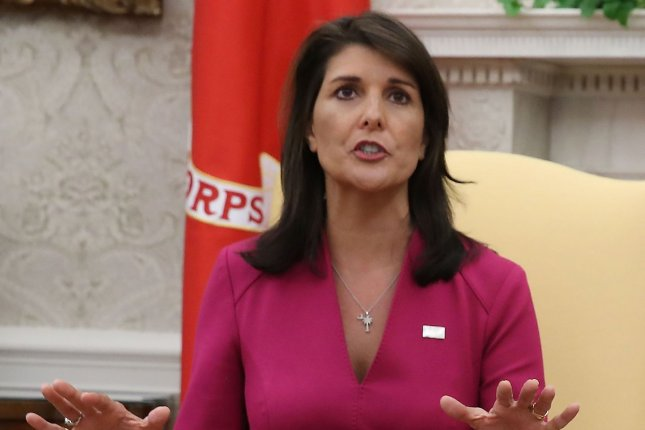 Nikki Haley, the former U.S. ambassador to the United Nations, said Sunday that former Chief of Staff John Kelly and former Secretary of State Rex Tillerson tried to recruit her to work against President Donald Trump. Photo by Mark Wilson/UPI