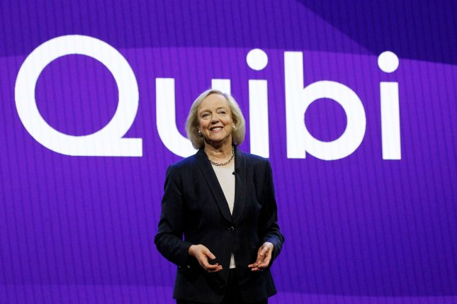 CEO Meg Whitman addresses members of the media during the Quibi Keynote at the 2020 International CES, at the Park MGM Theatre in Las Vegas. Photo by James Atoa/UPI