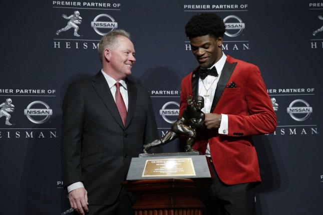 Lamar Jackson won the Heisman Trophy in 2016, while coached at Louisville by Bobby Petrino.  File photo by John Angelillo/UPI
