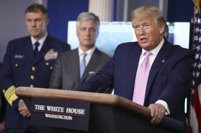 President Donald Trump speaks during a press conference with members of the White House Coronavirus Task Force in the Brady Press Briefing Room on Wednesday. Photo by Oliver Contreras/UPI