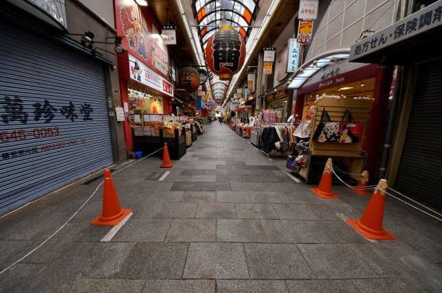 Few pedestrians are seen Sunday at Kuromon Ichiba Market in Osaka, Japan, due to restrictions related to the coronavirus outbreak. Photo by Keizo Mori/UPI