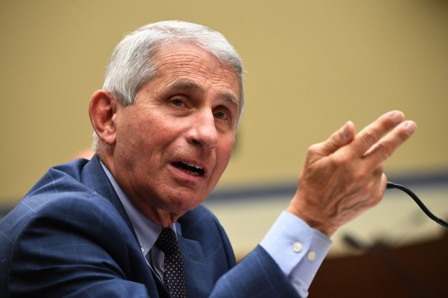 Dr. Anthony Fauci, director of the National Institute for Allergy and Infectious Diseases, pictured during testifimony before Congress in July, said Monday that the United States would be in better shape if more people wore masks and observed social distancing. Photo by Kevin Dietsch/UPI