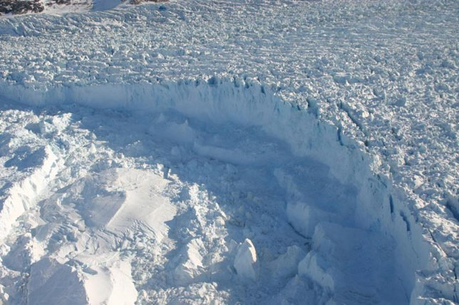 New research suggests Antarctica's ice shelves and coastal glaciers could start behaving like Greenland's rapidly melting ice sheet if warming trends continue. File Photo by UPI Photo/NASA/Wallops