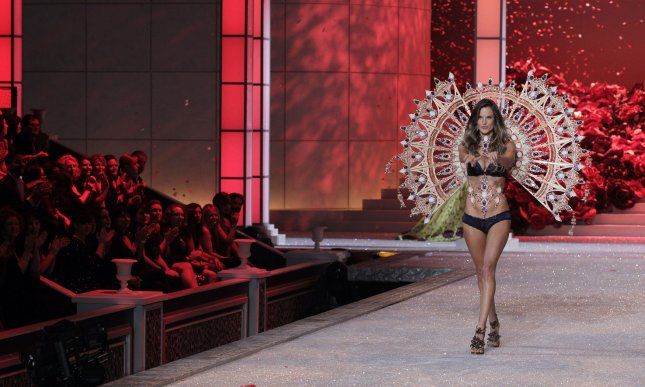 Alessandra Ambrosio walks on the runway at the Victoria's Secret Fashion Show at the Lexington Avenue Armory in New York City on November 9, 2011. UPI/John Angelillo .