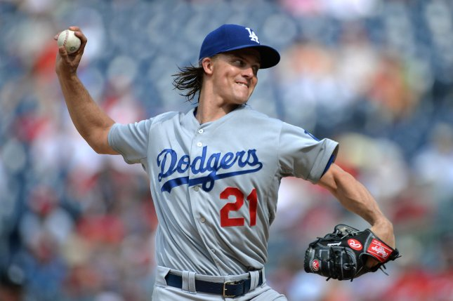 Los Angeles Dodgers pitcher Zack Greinke pitches against the Washington Nationals in the eighth inning at Nationals Park in Washington, D.C. on July 19, 2015. Photo by Kevin Dietsch/UPI