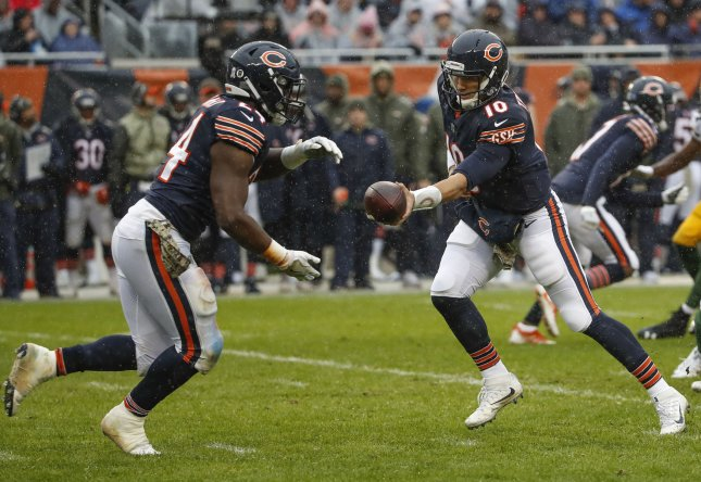 Chicago Bears running back Jordan Howard (24) takes a handoff from quarterback Mitchell Trubisky during their game against the Green Bay Packers in November. Photo by Kamil Krzaczynski/UPI