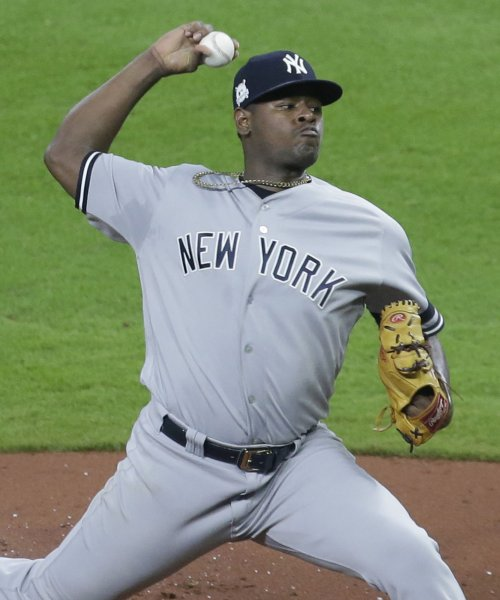Luis Severino and the New York Yankees face the Philadelphia Phillies on Tuesday. Photo by John Angelillo/UPI