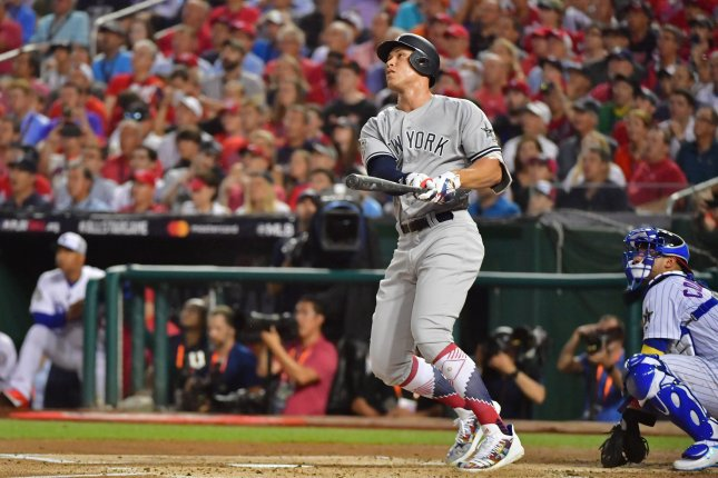 New York Yankees outfielder Aaron Judge (99) hits a solo home run against the National League during the second inning of the MLB All-Star Game on July 17, 2018 at Nationals Park in Washington, D.C. Photo by Kevin Dietsch/UPI