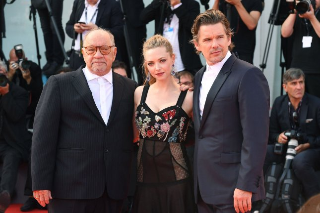 American screenwriter and film director Paul Schrader, American actor Ethan Hawke and American actress Amanda Seyfried attend the 74th Venice Film Festival on August 31, 2017. Their film First Reformed was nominated for two Gotham Awards this week. File Photo by Paul Treadway/ UPI