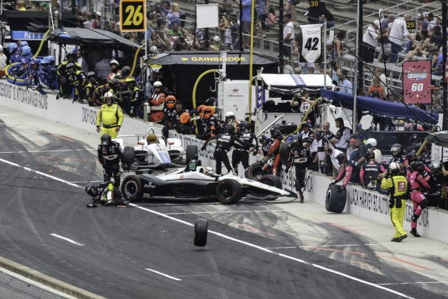 A wheel rolls away from the Jordan King car during an incident in the pits in the 103rd running of the Indianapolis 500 on Sunday at the Indianapolis Motor Speedway in Indianapolis, Indiana. Photo by Edwin Locke/UPI