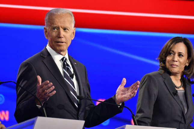 Democratic presidential candidates former Vice President Joe Biden and California Sen. Kamala Harris participate on the second night of the CNN Democratic Presidential Debate at the Fox Theater in Detroit on July 31. Photo by Edward M. PioRoda/CNN/UPI