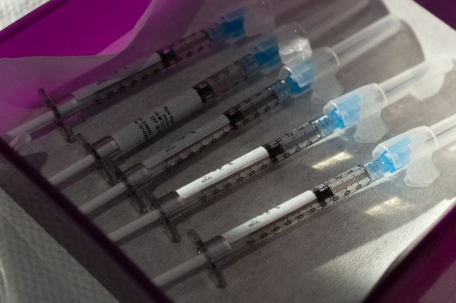 Doses of the Pfizer COVID-19 vaccine are seen on Monday at George Washington University Hospital in Washington, D.C. Photo by Jacquelyn Martin/UPI/Pool