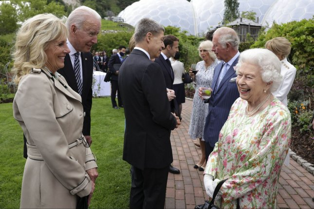 U.S. President Joe Biden and first lady Jill Biden speak with Queen Elizabeth II during a reception and dinner in Cornwall, Britain, on Friday. Photo by Andrew Parsons/No. 10 Downing Street