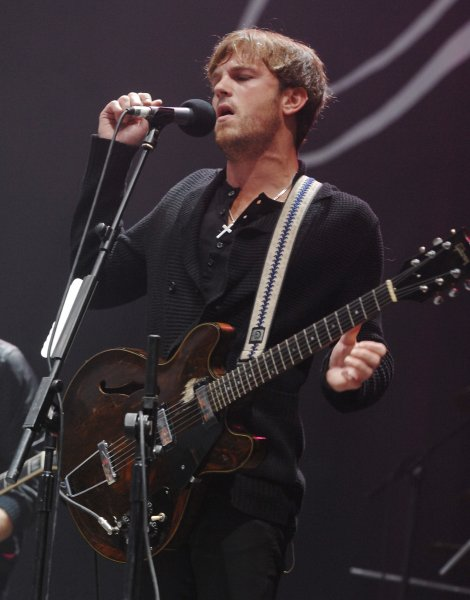 Caleb Followill performs with Kings Of Leon at The Carling Leeds Festival in Bramham Park in Leeds on August 25, 2007. (UPI Photo/Rune Hellestad)