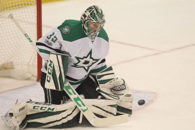 Kari Lehtonen made a season-high 42 saves, Patrick Sharp had a goal and an assist, and the Dallas Stars held on to defeat the Capitals 4-2 on Monday night, snapping Washington's 15-game home winning streak. File Photo by Bill Greenblatt/UPI