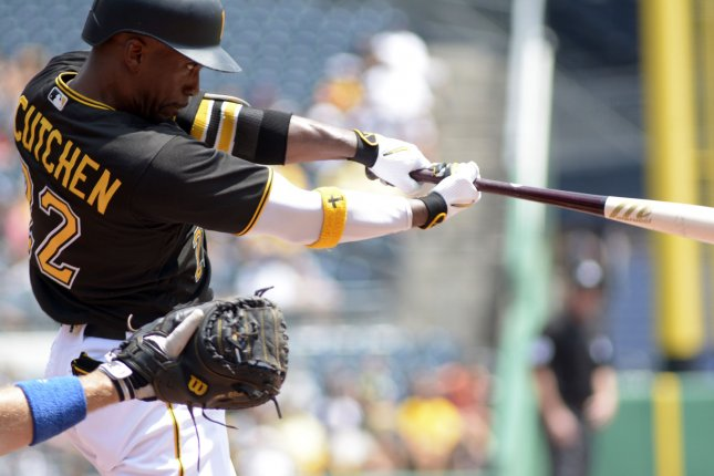 Pittsburgh Pirates center fielder Andrew McCutchen (22) doubles in the bottom of the first inning against the Los Angeles Dodgers at PNC Park on June 27, 2016 in Pittsburgh. Photo by Archie Carpenter/UPI