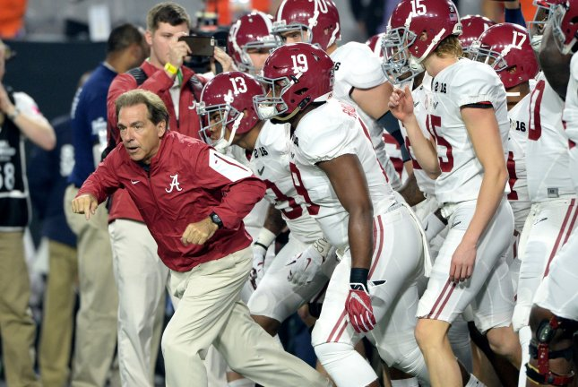 Alabama Crimson Tide head coach Nick Saban leads his team out to the field prior to a game against the Clemson Tigers on January 11, 2016 at University of Phoenix Stadium in Glendale, Arizona. File photo by Jon SooHoo/UPI