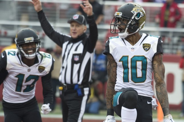 Former Jacksonville Jaguars wide receiver Jaelen Strong (10) signed with the Cleveland Browns on Wednesday. File Photo by Terry Schmitt/UPI