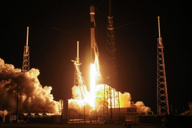 A SpaceX Falcon 9 rocket launches satellites from Florida on May 23. Photo by Joe Marino-Bill Cantrell/UPI