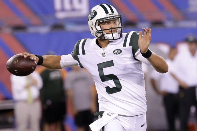 Former New York Jets quarterback Christian Hackenberg has trained this off-season for a baseball career after a brief stint in the now-defunct Alliance of American Football league. File Photo by John Angelillo/UPI