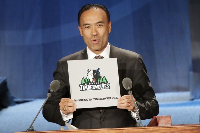 Mark Tatum, deputy commissioner and COO of the NBA, holds up the card for the Minnesota Timberwolves at the 2015 NBA draft Lottery on May 19, 2015, at the New York Hilton Midtown in New York City. Prior to this year, it was the only time the franchise had won the No. 1 pick. File Photo by John Angelillo/UPI