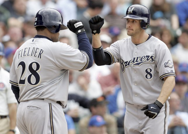 Milwaukee Brewers left fielder Ryan Braun (8) is congratulated at home plate by teammate Prince Fielder (28) after hitting a solo home run in the sixth inning off of Chicago Cubs pitcher Carlos Zambrano at Wrigley Field in Chicago on May 1, 2008. (UPI Photo/Mark Cowan)