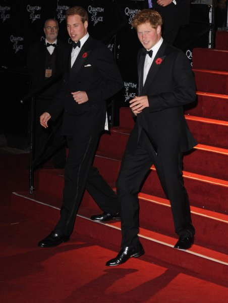 British royalties Prince William and Prince Harry attend the world premiere of Quantum Of Solace at Odeon, Leicester Square in London on October 29, 2008. (UPI Photo/Rune Hellestad)