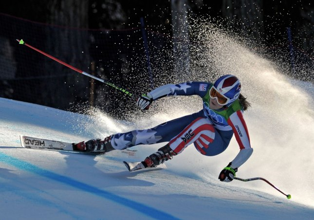 USA's Lindsey Vonn competes in the Ladies' Super-G during the 2010 Vancouver Winter Olympics in Whistler, Canada on February 20, 2010. Vonn took silver with a time of 1:20.88. UPI/Kevin Dietsch