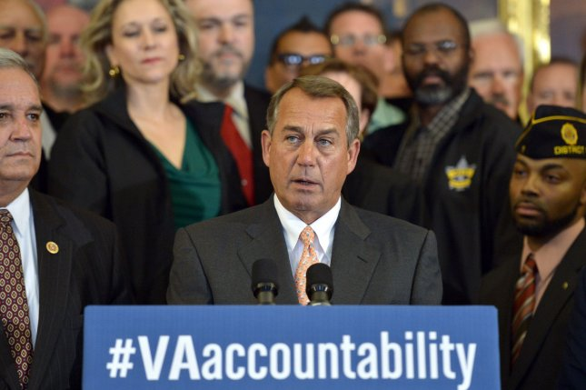 Speaker of the House John Boehner, D-Ohio, is joined by veterans as he speaks during a press conference on legislation that would bring greater accountability to the Department of Veterans' Affairs, on Capitol Hill in Washington, D.C. April 3, 2014. UPI/Kevin Dietsch