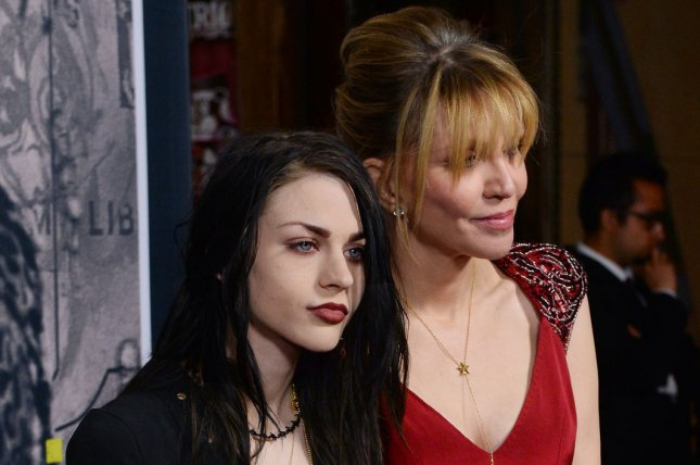 Frances Bean Cobain (L) and mom Courtney Love at the Los Angeles premiere of Kurt Cobain: Montage of Heck on April 21, 2015. File Photo by Jim Ruymen/UPI