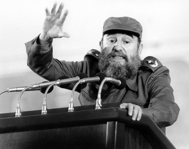 Cuban President Fidel Castro speaks in Cienfuegos, Cuba, marking the 31st anniversary of the Cuban Revolution. On April 20, 1961, Radio Havana announced that seven members of the group involved in the Bay of Pigs invasion against the Castro government had been executed. UPI File Photo