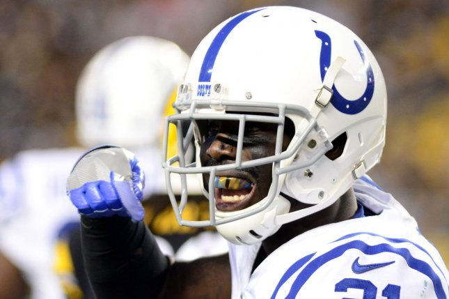Indianapolis Colts cornerback Vontae Davis (21) gestures to his sidelines in the first half their preseason game against the Pittsburgh Steelers on August 26 at Heinz Field in Pittsburgh, Pa. File photo by Archie Carpenter/UPI