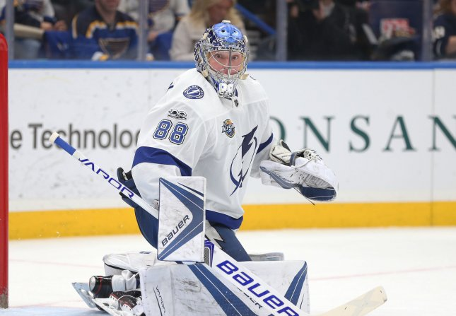 Andrei Vasilevskiy face the Washington Capitals in the Stanley Cup playoffs Sunday. Photo by Bill Greenblatt/UPI