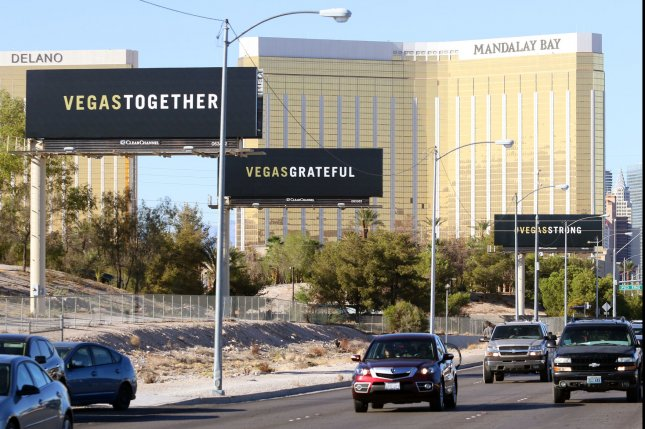 Billboards are seen on Las Vegas Boulevard near the Mandalay Bay Resort and Casino on October 6, 2017, five days after a shooting attack killed 58 people. File Photo by Ronda Churchill/UPI