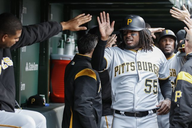 Pittsburgh Pirates first baseman Josh Bell hit his ninth home run of the season Wednesday. File photo by Kamil Krzaczynski/UPI