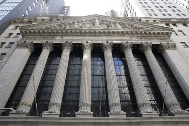 The New York Stock Exchange is seen Monday on Wall Street in New York City. The main trading floor of the exchange remains closed and traders are conducting business remotely. Photo by John Angelillo/UPI