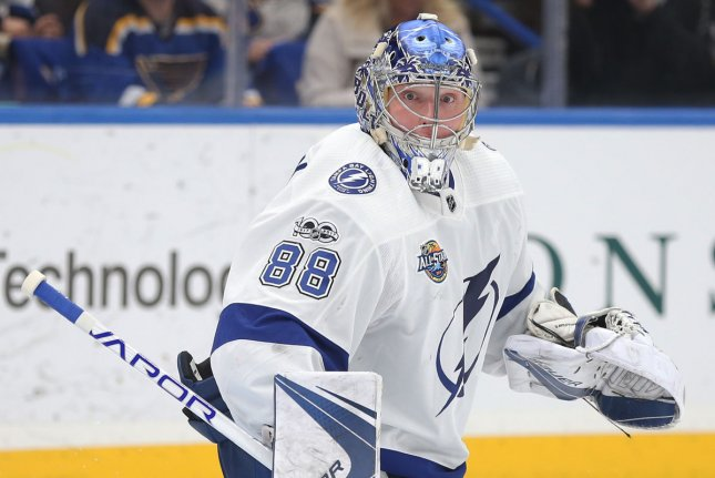 Tampa Bay Lightning goaltender Andrei Vasilevskiy had 61 saves in an overtime win over the Columbus Blue Jackets Tuesday in Toronto. File Photo by Bill Greenblatt/UPI