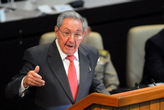 Cuba's outgoing President Raul Castro delivers a speech after Miguel Diaz-Canel was formally named president by the National Assembly, in Havana on April 19, 2018. Castro stepped down as leader of the Communist Party on Friday. UPI File Photo