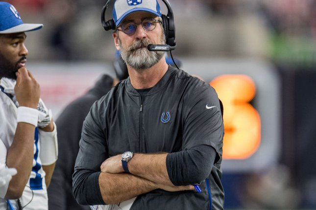 Indianapolis Colts head coach Frank Reich will not report with players for training camp this week due to a positive COVID-19 test result he received late last week. File Photo by Trask Smith/UPI