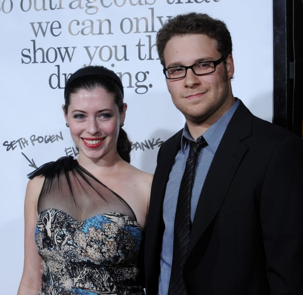 Canadian actor Seth Rogen, a cast member in the motion picture dramatic comedy Zack and Miri Make a Porno, attends the premiere of the film with actress Lauren Miller at Grauman's Chinese Theatre in the Hollywood section of Los Angeles on October 20, 2008. (UPI Photo/Jim Ruymen)