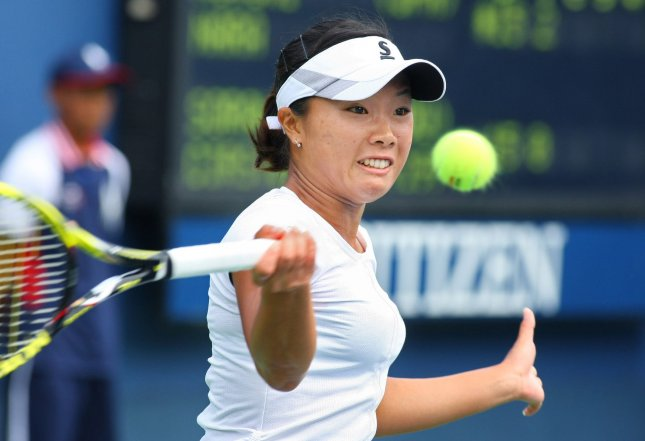 Kurumi Nara, shown playing in the 2013 U.S. Open, posted a three-set win Friday that earned her a spot in the semifinals of the HP Japan Women's Open Tennis tournament. UPI Photo/Monika Graff