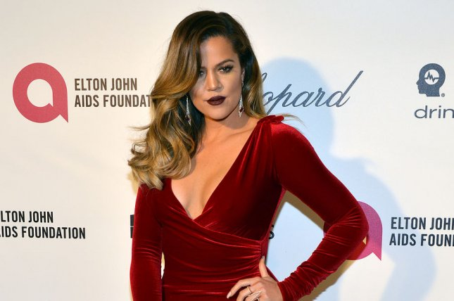 Khloe Kardashian arrives for the Elton John AIDS Foundation Academy Awards Viewing Party at West Hollywood Park in Los Angeles on March 2, 2014. UPI/Christine Chew