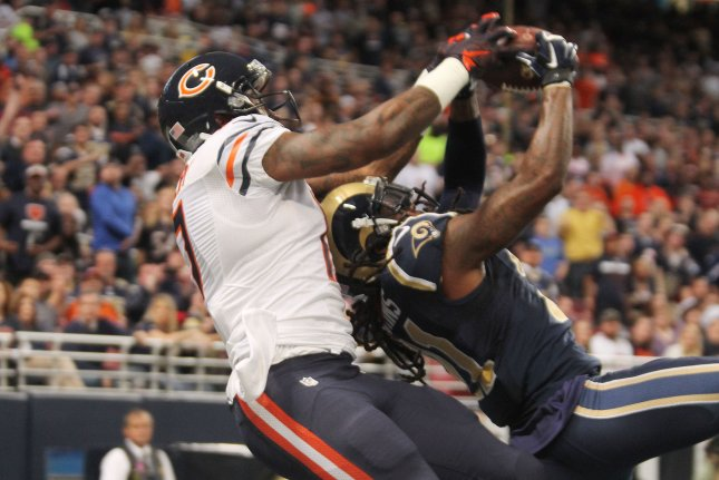St. Louis Rams' Janoris Jenkins gets his hands on the football intended for Chicago Bears' Alshon Jeffery in the second quarter at the Edward Jones Dome in St. Louis on November 15, 2015. The ball was dropped as Chicago went on to win 37-13. Photo by Bill Greenblatt/UPI